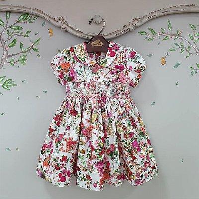 Vestido Bordado Infantil Floral Rosa