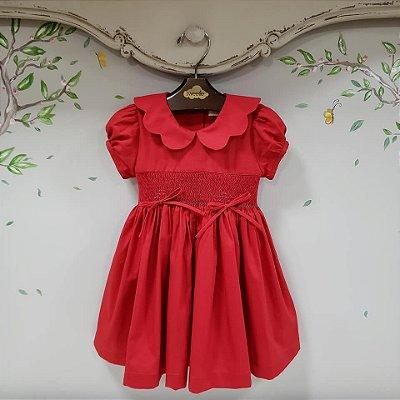 Vestido Bordado Bebe e Infantil Vermelho