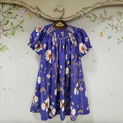 Vestido Bata Floral Infantil Azul