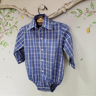 Camisa Body Bebe Xadrez Azul