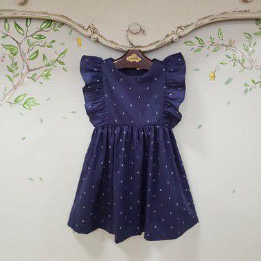 Vestido infantil Ancoras Marinho Capri