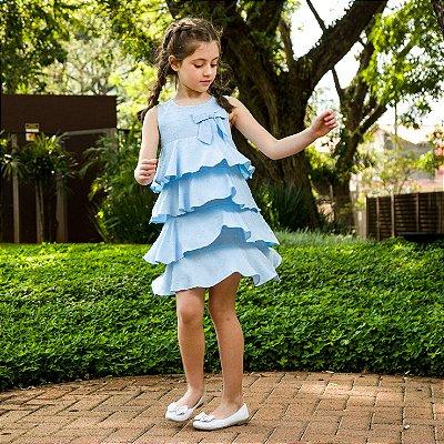 Vestido infantil babado azul modena