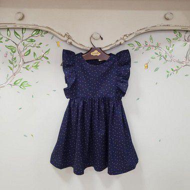 Vestido Infantil Folhinha Marinho Capri