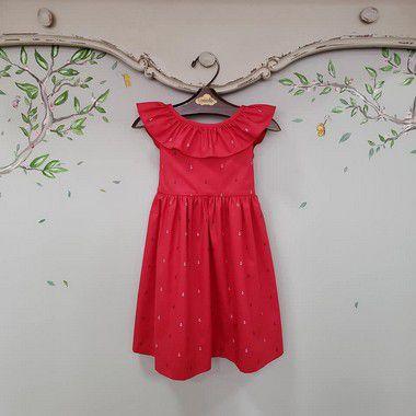 Vestido babado infantil ancoras Vermelho