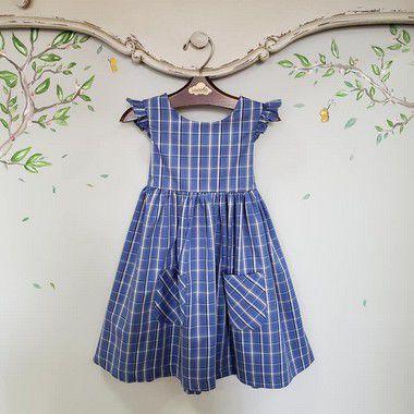 Vestido Infantil bolso Xadrez