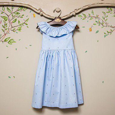 Vestido Infantil babado ancoras azul bebe