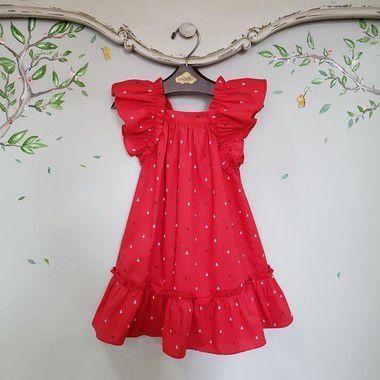 Vestido infantil vermelho ancoras bolonha