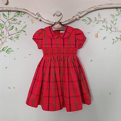 Vestido Bordado Infantil Xadrez Natal