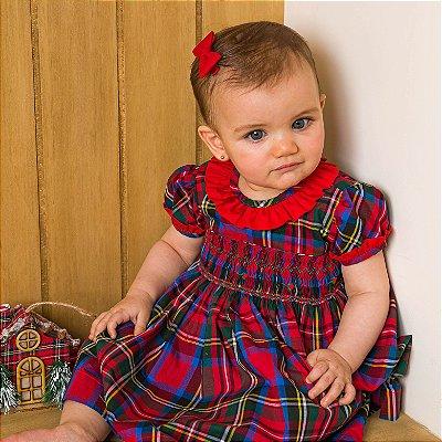 Vestido Bordado bebê xadrez