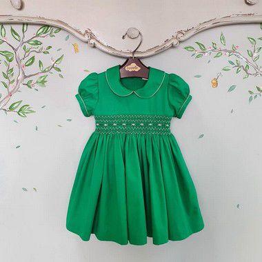 Vestido bebê Bordado Verde Noél