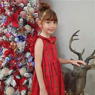 Vestido infantil babado algodão xadrez vermelho Natal