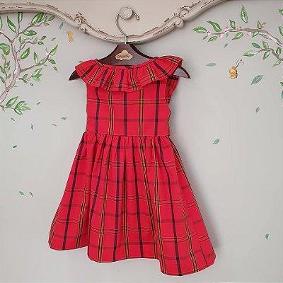 Vestido bebê babado algodão xadrez vermelho