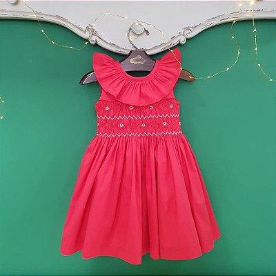 Vestido bordado bebe vermelho natal