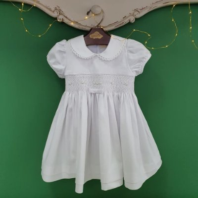 Vestido bordado bebê branco chanel