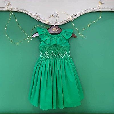 Vestido bordado bebe e infantil verde natal
