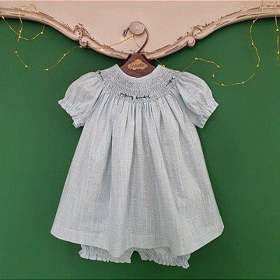 Conjunto batinha bordado linho azul bebê