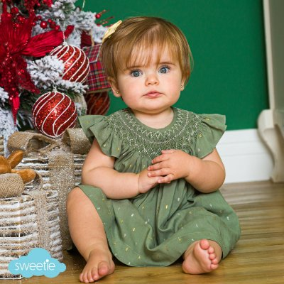 Conjunto batinha bebê brilho verde natal