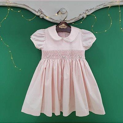 Vestido bordado bebê e infantil rosa bebê