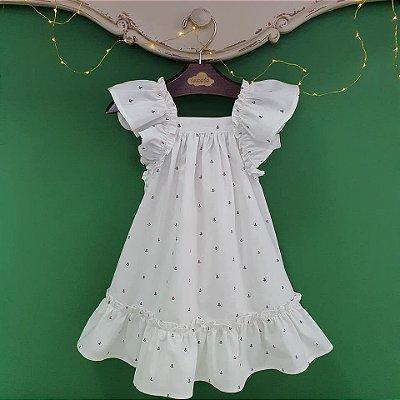 Vestido bebe e Infantil Ancoras Branco Bolonha