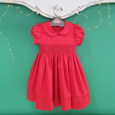 Vestido bordado bebê fustão vermelho
