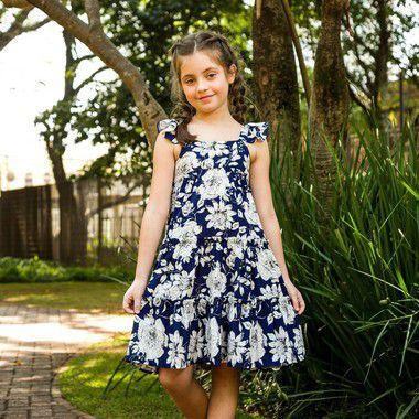 Vestido Infantil estampa Floral Azul Padua