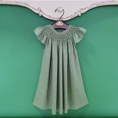 Vestido bata bordado brilho Infantil Verde natal