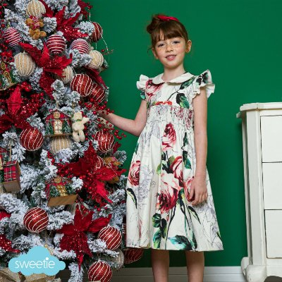 Vestido bordado infantil Luxury estampa floral Rosa