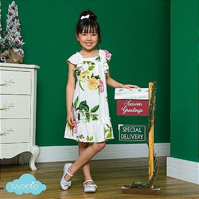 Vestido bebê e Infantil estampa Folhagem Floral Bolonha