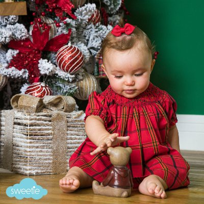 Conjunto batinha bebê estampa Xadrez  Natal