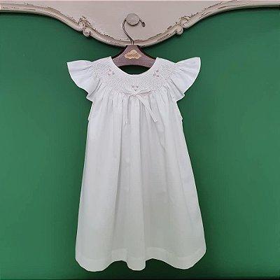 Vestido bata infantil bordado 400 fios branco