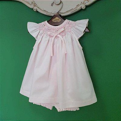 Conjunto batinha bebê fustão Rosa