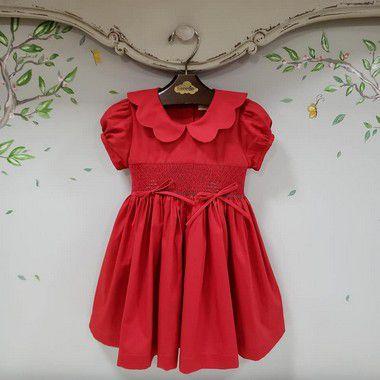 Vestido Bordado Bebê Vermelho