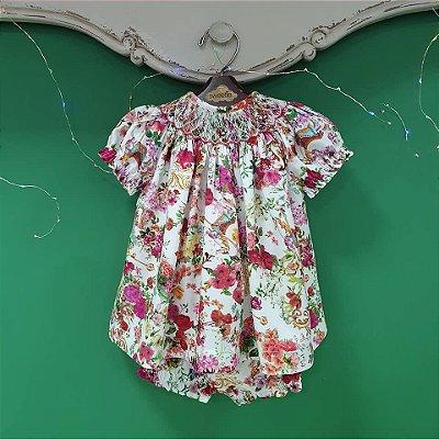 Conjunto batinha bordado bebê estampa Viscose floral