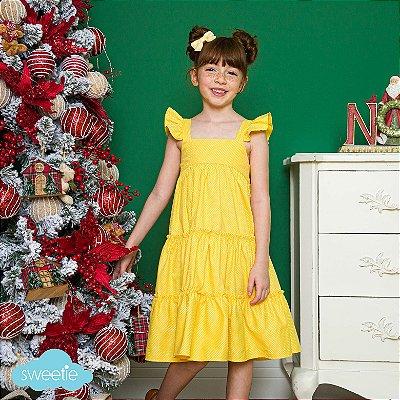 Vestido Infantil Amarelo estampa bolas Padua