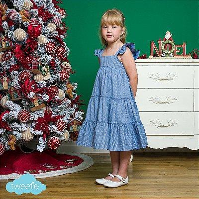 Vestido Infantil estampa bolas Azul Seco Padua