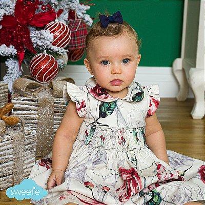 Vestido bordado bebê Luxury estampa floral Rosa