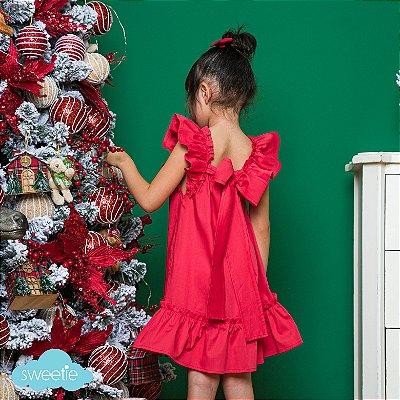 Vestido bebe e Infantil Vermelho Bolonha