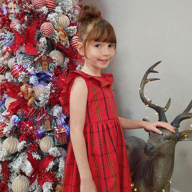 Vestido infantil babado algodão estampa xadrez vermelho