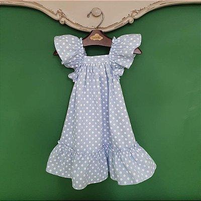 Vestido bebe e Infantil estampa bolas azul bebê Bolonha