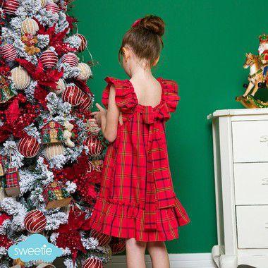 Vestido bebe e Infantil estampa xadrez vermelho Bolonha
