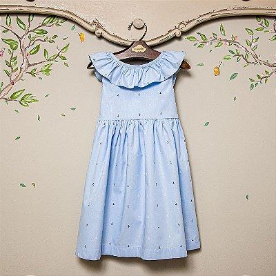 Vestido Babado Estampa Ancoras Azul