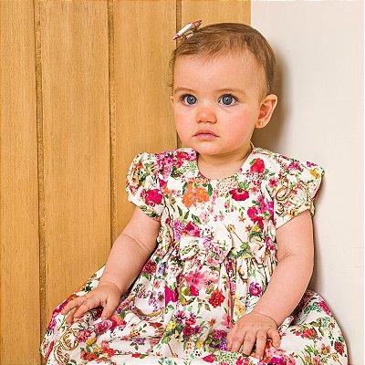 Vestido bebê estampa floral Siena