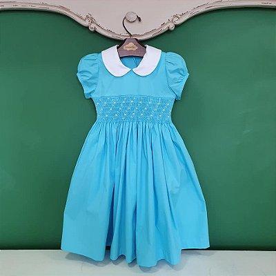 Vestido infantil bordado Azul