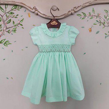 Vestido Bordado bebê e infantil verde