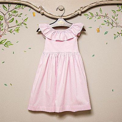 Vestido infantil babado V Rosa bb