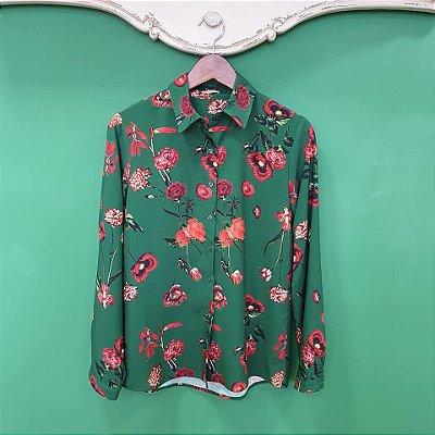 Camisa Mãe estampa Floral Verde