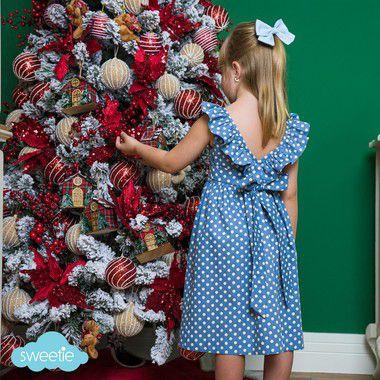 Vestido infantil babado V bolas azul