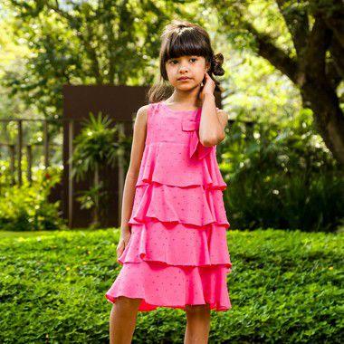 Vestido infantil babado rosa modena