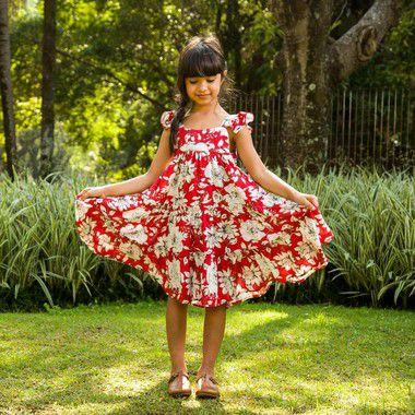 Vestido rodado estampa floral vermelho viscose Pádua