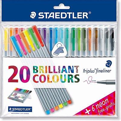Kit Staedtler Triplus Fineliner 20 cores - Gratis 6 neon